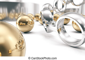 Machining ball bearings on a white background, 3d rendering...