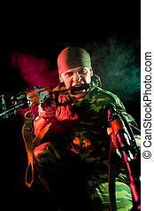 Aggressive soldier with weapon - Aggressive soldier with...