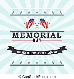 Happy Memorial Day greeting card. Vector illustration. -...