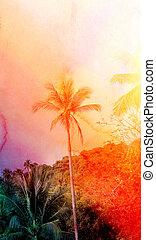 Retro photo of a beautiful watercolor of palm trees on a...