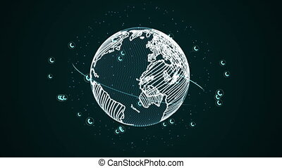 Graphic picture of planet with Web - Graphical picture of...
