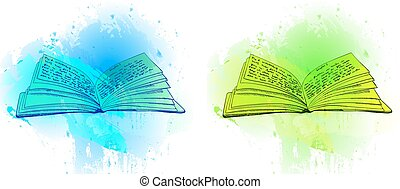 VECTOR opened books on abstract blue and green spots