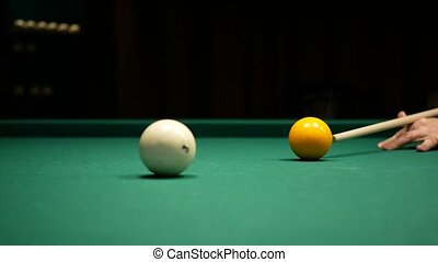 Video of Billiards game. Shot at the yellow ball.