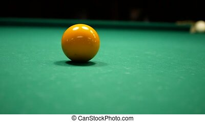 Video of Billiards game. Shot at the yellow ball. 4k UHD...