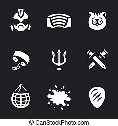 Vector Set of Gladiator Arena Icons. - Fighter, arena,...