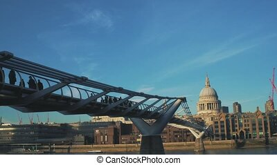 View to the City of London, Millennium Bridge and Saint Paul's Cathedral from Thames embankment. With birds.