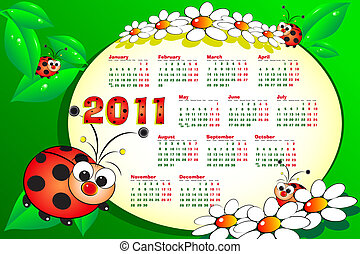 2011 Kid calendar with ladybugs, leaves and daisies -...