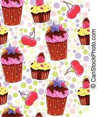 Seamless decorative pattern with muffins and cherries in...