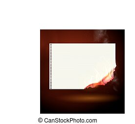 Burning yellow sheet of paper vector illustration.