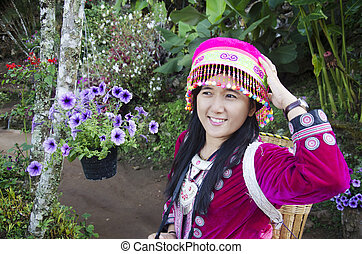 Thai women wearing costume traditional of ethnic hmong for...