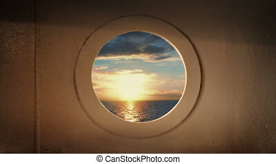 Porthole View From Ship At Sunset