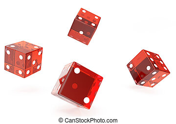 Red Casino dice, concept of gambling, on white background, 3d rendering