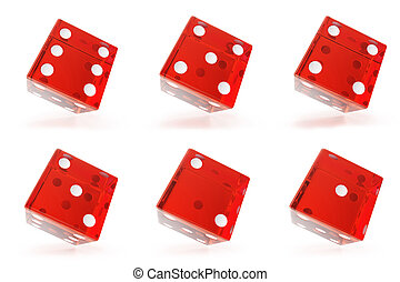 Set, Group of red transparent dice isolated on white...