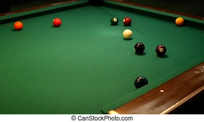 Video of Billiards Pool. Shot at the ball. 4k UHD video...
