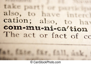 Word communication from the old dictionary, a close up.