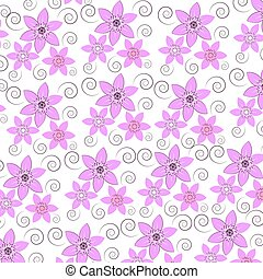Pink flowers on white background .