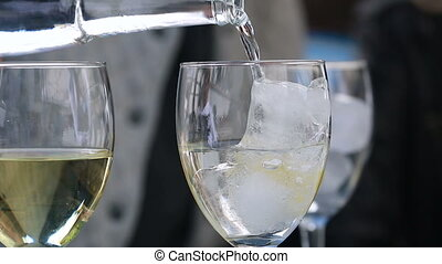 Pouring Sparkling Water Into Glass - Pouring Cold Sparkling...