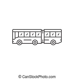 Articulated bus line icon isolated on white. Vector...