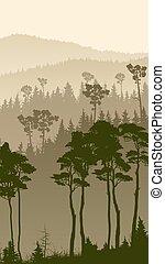 Vertical illustration of foggy forest hills. - Vertical...
