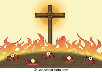 Attack on Christianity flames and bombs Christian Cross -...