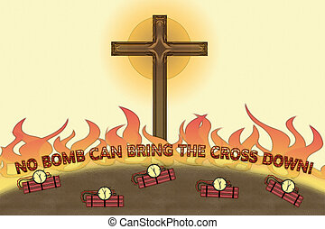 No bomb can bring The Cross down illustration