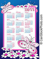 2011 Calendar with butterflies - 2011 Kid calendar with...