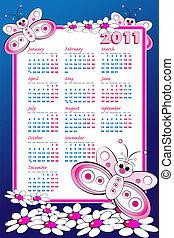 2011 Calendar with butterflies - 2011 Kid calendar with...