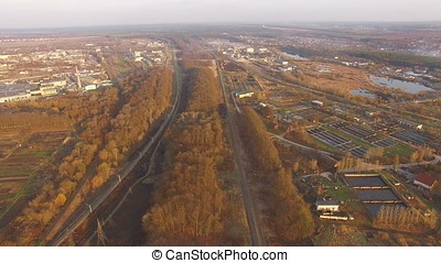 Aerial Video of Waste Water Treatment Plant