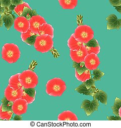 Orange Red Alcea Rosea - hollyhocks, Aoi on Green Teal Background. Vector Illustration
