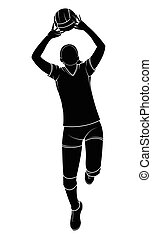female volleyball player - Silhouette of a female volleyball...