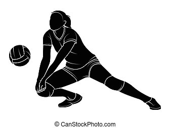 volleyball woman player - Silhouette of a female volleyball...