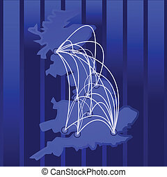 Connected UK - Illustration of a map of the UK and its main...