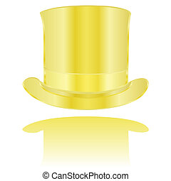 Golden hat - Illustration of a golden tall hat reflected on...