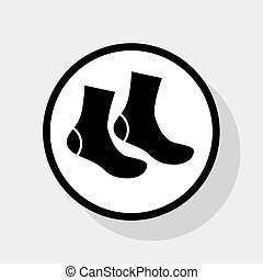 Socks sign. Vector. Flat black icon in white circle with...