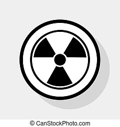 Radiation Round sign. Vector. Flat black icon in white...