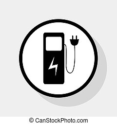 Electric car charging station sign. Vector. Flat black icon...
