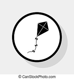 Kite sign. Vector. Flat black icon in white circle with...