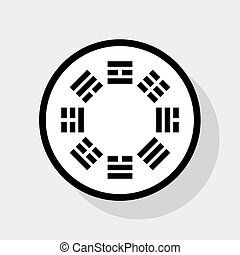 Bagua sign. Vector. Flat black icon in white circle with...