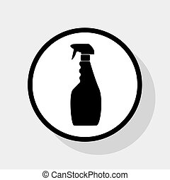Plastic bottle for cleaning. Vector. Flat black icon in...