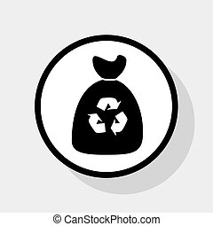 Trash bag icon. Vector. Flat black icon in white circle with...