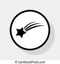 Meteor shower sign. Vector. Flat black icon in white circle...