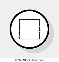 Arrow on a square shape. Vector. Flat black icon in white circle with shadow at gray background.