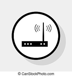 Wifi modem sign. Vector. Flat black icon in white circle...