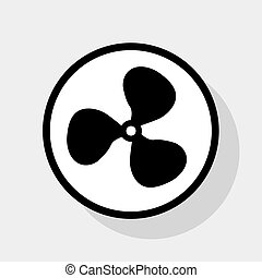 Fan sign. Vector. Flat black icon in white circle with shadow at gray background.