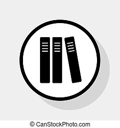 Row of binders, office folders icon. Vector. Flat black icon...
