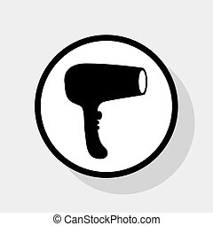 Hair Dryer sign. Vector. Flat black icon in white circle with shadow at gray background.