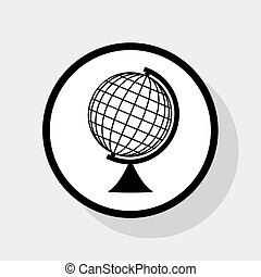 Earth Globe sign. Vector. Flat black icon in white circle...
