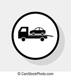 Tow car evacuation sign. Vector. Flat black icon in white...