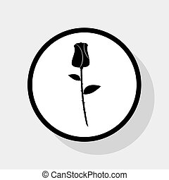 Rose sign illustration. Vector. Flat black icon in white circle with shadow at gray background.