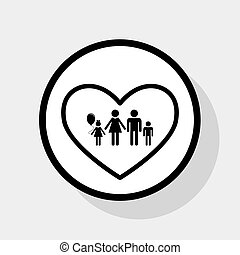 Family sign illustration in heart shape. Vector. Flat black...